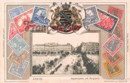 Leipzig - Augustenplatz Mit Hauptost - Deutsches Reich Timbres Stamps - Carte Gauffrée - Pliure En Bas à Droite - Leipzig