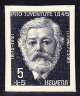 Pro Juventute 1945 - Ludwig Forrer Ungezähnter Probedruck - Stichtiefdruck Auf Kartonpapier Aus Bickel Archiv - Unused Stamps