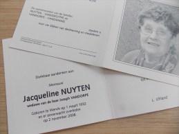 Doodsprentje Jaqueline Nuyten Wervik 1/3/1932 - 2/11/2008 ( Joseph Vandorpe ) - Religione & Esoterismo