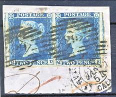 UK 1841 Victoria N. 4 - 2 Penny Azzurro Coppia Su Frammento, Lettere QD-QE, USATA - Used Stamps