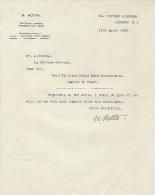 Lettre/Fabrique D´Instruments De Musique / N. HOTTA/ London/ Angleterre/Courbe/La Couture Boussey/Eure/1928   PART160 - Musik & Instrumente