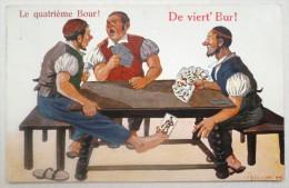 LITHO CHROMO Illustrateur H.H. Homme Jeu Partie Cartes Tricheur Timbre Et Flamme Centenaire Geneve Reunion Suisse 1914 - Cartes à Jouer