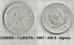 CONGO - 1 LIKUTA - 1967 - KM 8 - Agouz - Congo (Democratic Republic 1964-70)