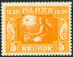 IJSLAND 1930 5kr Parlement PF-MNH - 1918-1944 Autonomous Administration