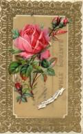 CPA 1002 - Carte En Celluloid & Découpi Fleur Rose - Portez Lui Mon Souvenir - - Flowers, Plants & Trees