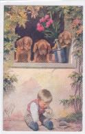 CARD CANE BASSOTTO - BASSET SAUS-SAGE DOG  BIMBO TOPO IN TRAPPOLA FIORI  OLEANDRO FIRMATA  FP-N-2 -0882 22575 - Chiens
