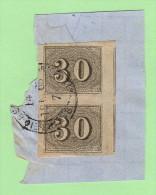 BRZ SC #23 PR On-piece  1850 Numeral, CV $7.00 - Brazil