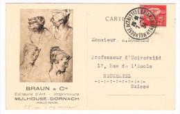 Carte Réponse, Mars 1934, BRAUN & Cie, Editeurs D´Art - Imprimeurs, Mulhouse - Dornach (Haut-Rhin) - Mulhouse