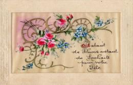 CPA 1005- Carte En Tissu Fleur  - Bonne Fete - Flowers, Plants & Trees