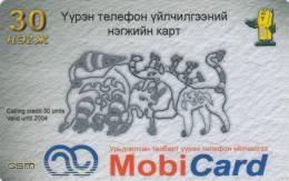 MONGOLIA - Mobicom Prepaid Card 30 Units, Used