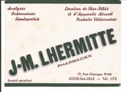 Buvard Loos-lez-Lille. J.M Lhermitte, Pharmacien 19, Rue Georges Potié; (Petit Format) - Drogheria