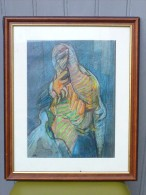 Jean ROUSSILLON (1923-2004) - Portrait Abstrait - Pastel - Signé De Ses Initiales - Pastels