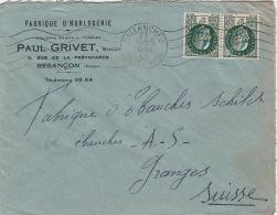 Enveloppe- Sallanches (Haute-Savoie) Pour La Suisse 1942 - Postmark Collection (Covers)