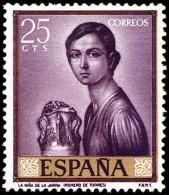 ESPAÑA SEGUNDO CENTENARIO NUEVO Nº 1657 ** 25C BURDEOS ROMERO DE TORRES - 1961-70 Neufs