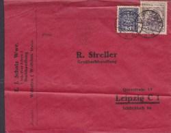 Poland E. J. SCHOLZ WWE. Buchhandlung WOLSZTYN Wollstein Cover Brief To LEIPZIG Germany (2 Scans) - 1919-1939 République