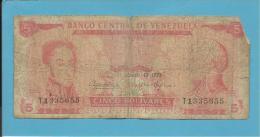 VENEZUELA - 5 BOLÍVARES - 13 / 03 / 1973 - Pick 50g - BOLÍVAR LIBERTADOR E FRANCISCO DE MIRANDA - 2 Scans - Venezuela