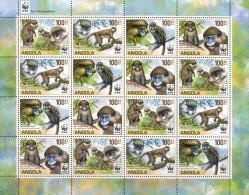Angola 2011 WWF - Monkeys Miniature Sheet Containing 4 Sets MNH - W.W.F.