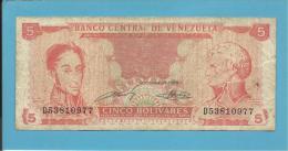 VENEZUELA - 5 BOLÍVARES - 21 / 09 / 1989 - Pick 70b - BOLÍVAR LIBERTADOR E FRANCISCO DE MIRANDA - 2 Scans - Venezuela
