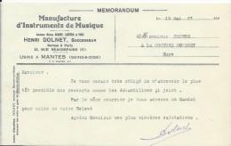 Mémorandum/Fabrique D´Instruments De Musique/henri DOLNET/Mantes/Courbe/La Couture Boussey/Eure/1927   PART170 - Other