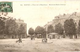NANTES - Place République Et Boulevard BABIN-CHEVAYE - Guérite Des TRAMWAYS - Pharmacie 1908 - Nantes