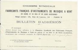 Bulletin D'Adhésion/Chambre Syndicale Fabricants Français De'Instruments De Musique à Vent/Vers 1925 PART172 - Other