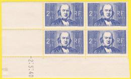 Coin Daté Neuf ** Du 2.5.40 - 2 Scans Au Profit Des Chômeurs Intellectuels Claude Bernard Type De 1939 - N° 464 (Yvert) - Ecken (Datum)