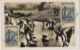 Haute Volta Koumi Femmes Lavant Les Calebasses Dans Le Marigot Carte Maximum 6 Timbres Abidjan 1943 - Burkina Faso