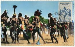 Tchad 42 Region de Daba Danses apres la recolte du Coton Hommes Nus Timbre Danse Maximum Bamako