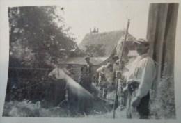 28  EURE ET LOIRE PHOTO  BATTEUSE LA MOISSON  SOUVENIR DE LA BATTERIE  LE 31 AOUT 1942 - Métiers
