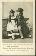 Kinderpaar Pair Of Child Mit Zyinder Zwei Unterm Haselstrauch Um 1900 - Portraits