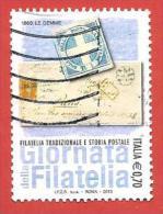 ITALIA REPUBBLICA USATO - 2013 - Giornata Della Filatelia - Filatelia Tradizionale E Storia Postale - € 0,70 - S. 3 - 2011-...: Afgestempeld