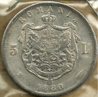 ROMANIA 5 LEI SHIELD  FRONT KING CAROL I HEAD BACK 1880 AG SILVER VFKM? READ DESCRIPTION CAREFULLY !!! - Roumanie