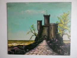 Peinture Acrylique Sur Carton Rigide Entoilé 46 X 38 Signé. Château D´ If ? - Acryliques