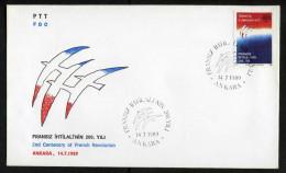 TURKEY 1989 FDC - 2nd Centenary Of French Revolution, Michel #2861; ISFILA #3255; Scott #2446.* - FDC