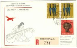 SVIZZERA - SUISSE - HELVETIA – 1975 – First Flight - Premier Vol - Zurich-Madras - Swissair - Aerei