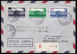 RARE ! GRIFFE + TAMPONS * KAMINA BASE MILITAIRE 2 * - SUR LETTRE RECOMMANDEE 1968  > MILANO