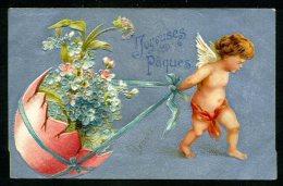 Joyeuses Pâques - Carte Argentée Gaufrée - Angelot - Embossed - Easter