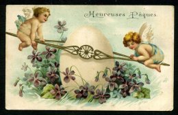 Heureuses Pâques - Carte Gaufrée - Angelots - Embossed - Easter