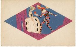 Art Deco Dessin Peinte Main Meschini ? Arlequin Colombine - 1900-1949