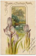 Art Nouveau  Gaufrée  Fleurs Crocus Cygne Swan Paysage  Embossed - Flores, Plantas & Arboles