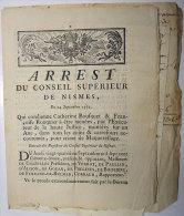 1772 Condamnation Maquerellage Prostitution Catherine Bousquet-Françoise Rouquier Montpellier à être Exposées Sur âne - Documentos Históricos