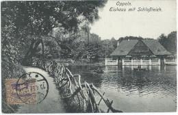 CPA SILESIE - OPPELN OPOLE - Plebiscite 1921 - Eishaus Mit Schlossteich Barques - Cachet 17 Avril 1921 Sur N° 36 YT TB** - Polen
