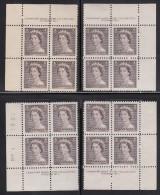 Canada MNH Scott #325 1c Queen Elizabeth II, Karsh Portrait - Plate No. 1, Matching Set Of Corner Blocks - Num. Planches & Inscriptions Marge