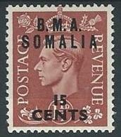 1948 OCCUPAZIONE INGLESE SOMALIA BMA 15 CENT MH * - K109 - Somalia