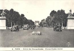 PARIS - 75 -   Avenue Des Champs-Elysées Avec Automobiles Des Années 1950 1er Plan   - - Multi-vues, Vues Panoramiques