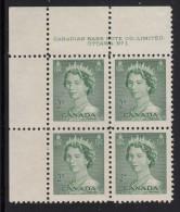 Canada MNH Scott #326 2c Queen Elizabeth II, Karsh Portrait - Plate No.1, Upper Left - Num. Planches & Inscriptions Marge