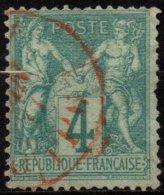 FRANCE - 4 C. Type I Oblitéré Rouge - 1876-1878 Sage (Type I)