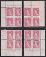 Canada MNH Scott #327 3c Queen Elizabeth II, Karsh Portrait - Plate No.1, Matching Set Of Corner Blocks - Num. Planches & Inscriptions Marge