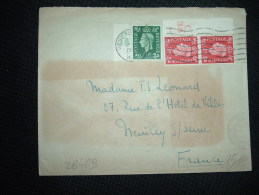 LETTRE POUR FRANCE TP 1D PAIRE AVEC BORD C/38 15 + 1/2D BORD C/38 40 OBL.MEC. 12 IX 1938 WEST KESSINGTON - Storia Postale