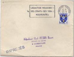 """Devant De Lettre La Bastide Rouairoux Tarn Flamme """"ses Draps Ses Tissus Nouveauté """" Du 14/7/56 /  Saintonge (YT 1004) - 1921-1960: Moderne"""